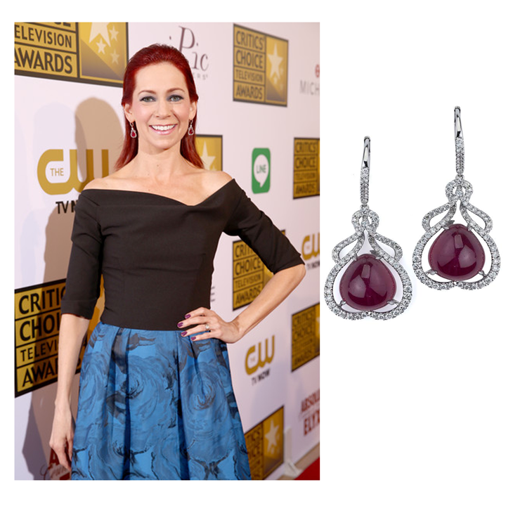 True Blood star, Carrie Preston graced the red carpet at this year's Critic's Choice Awards in Supreme Jewelry's Diamond and Ruby earrings!