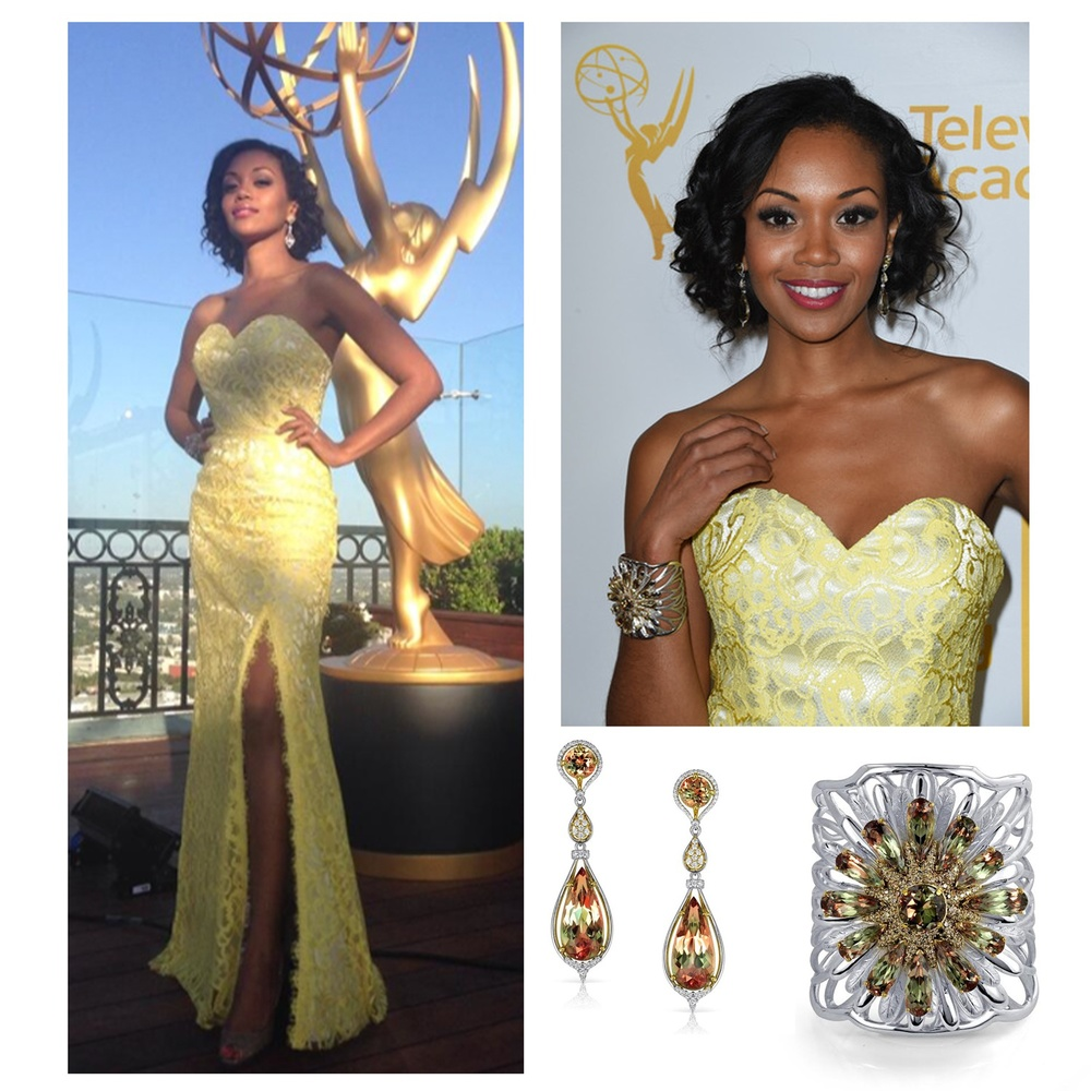 """Young and the Restless"" star, Mishael Morgan looked like a golden goddess in Lance Fischer's Zultanite earrings and cuff while attending the Daytime Emmys Nominee Reception!"