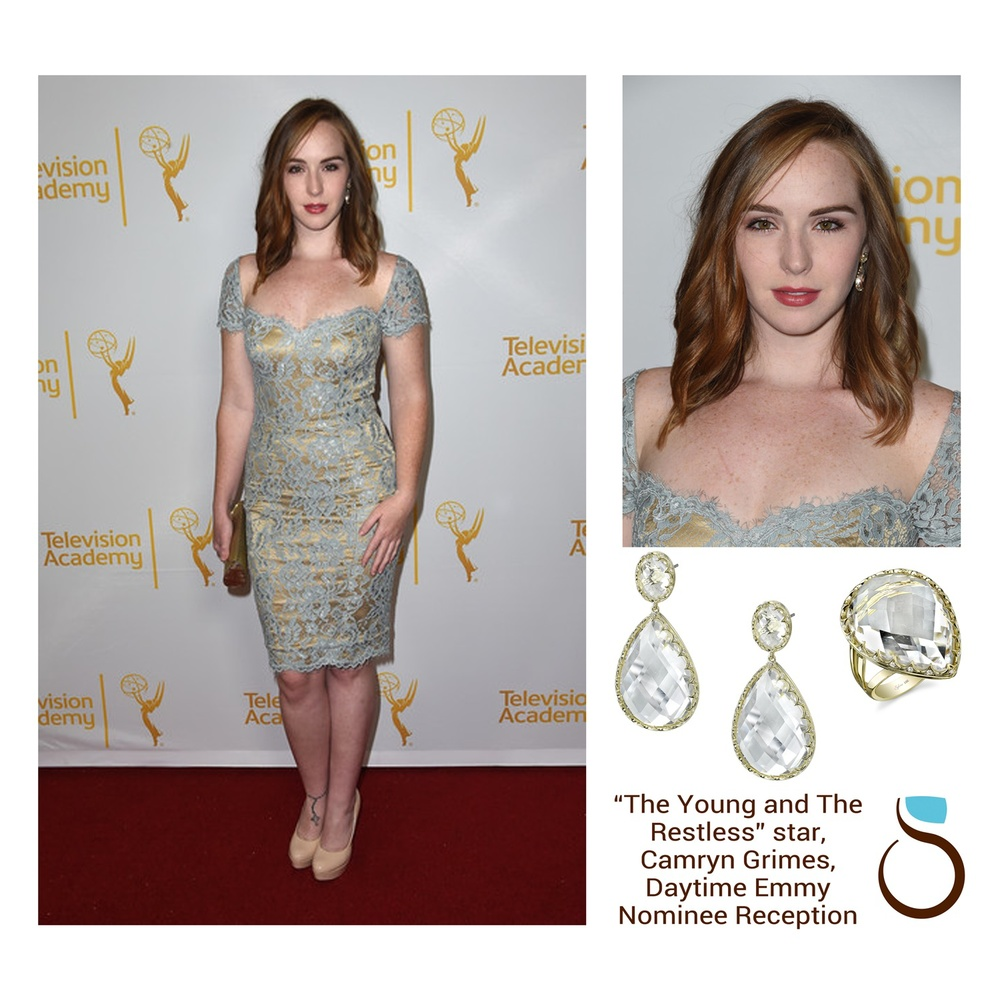 "Star of the daytime soap opera, ""The Young and the Restless"", Camryn Grimes stunned in Sylvie Collection's yellow gold earrings and ring at the Daytime Emmy Nominee Reception!"