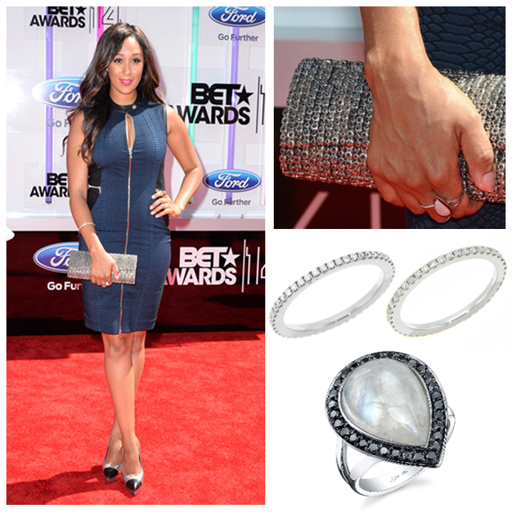 "Twin sister and host of ""The Real, Tamera Mowry, looked simply stunning on the red carpet at the BET Awards wearing a Sylvie Collection ring, and Michael John Jewelry's eternity bands."