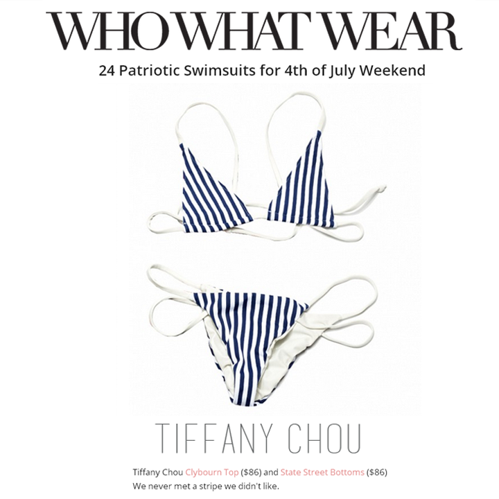 Tiffany Chou's striped bikini is the perfect swimsuit for the 4th of July weekend. Thank you Who What Wear for featuring!