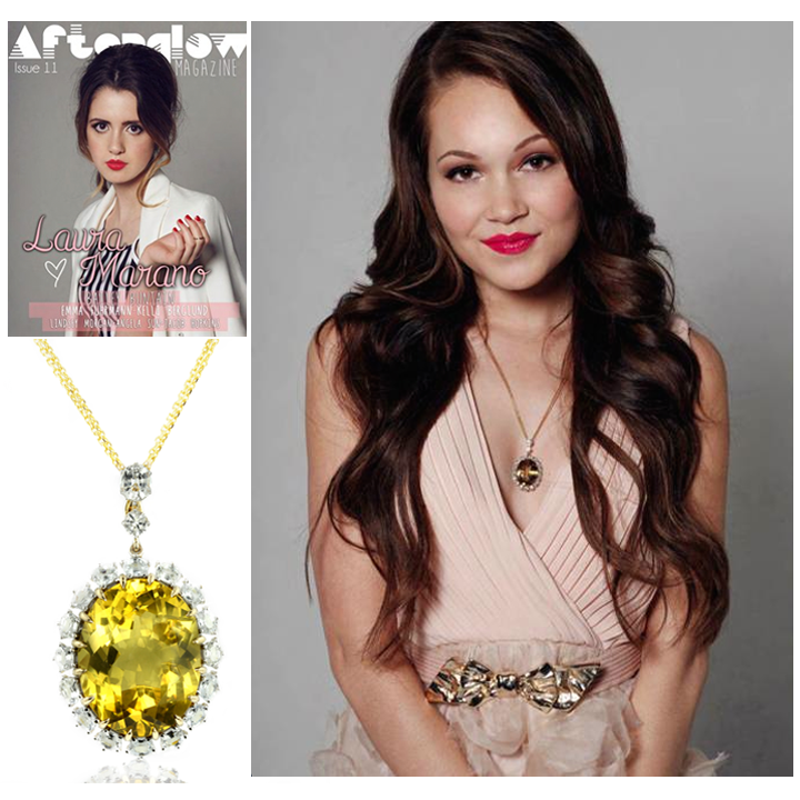 Actress, Kelli Berglund, looks pretty in pink and sparkles in Lance Fischer's Xia Apatite necklace in the latest issue of Afterglow Magazine!