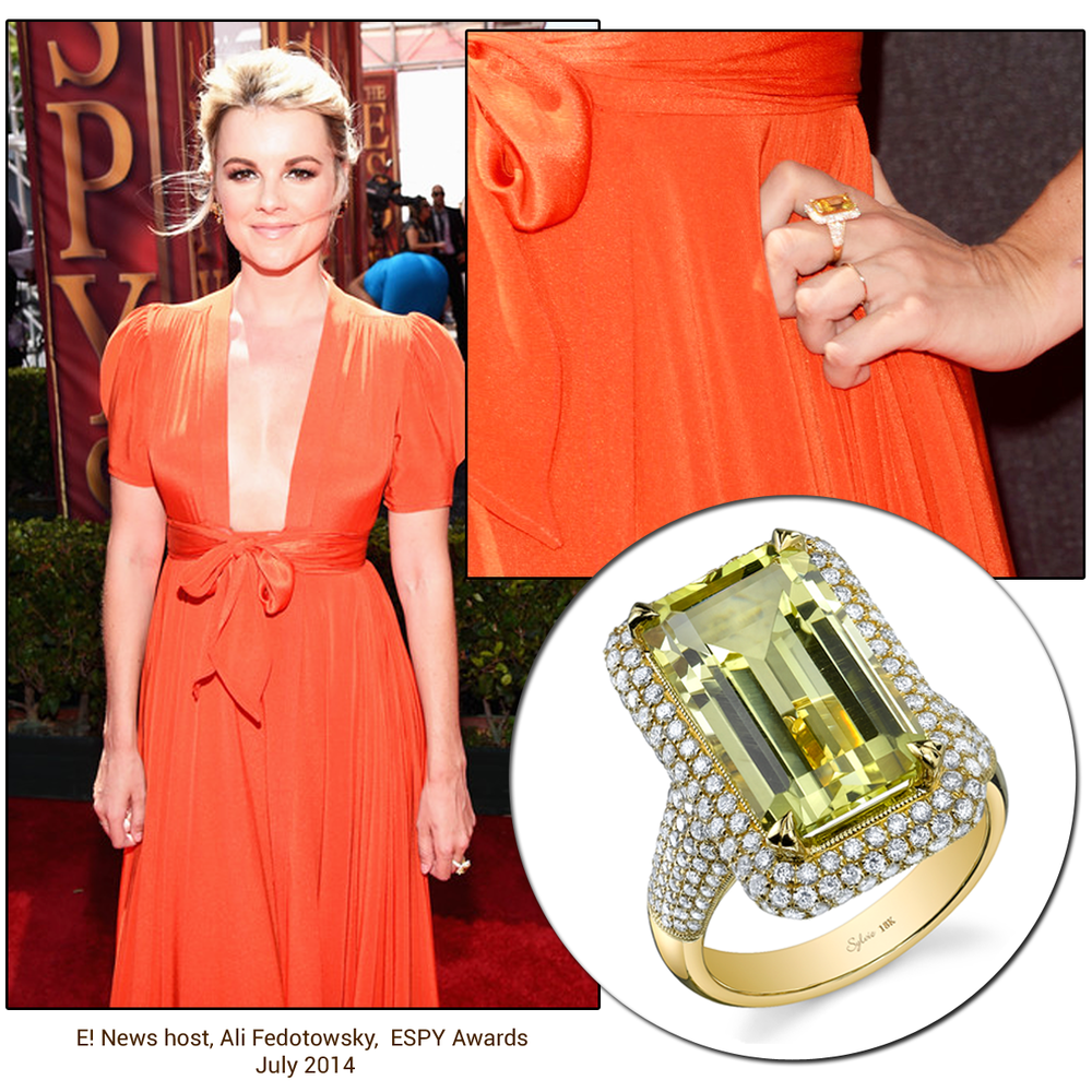E! News host, Ali Fedotowsky, shined in a vibrant orange gown and sparkled in a Sylvie Collection ring on the ESPY's red carpet!