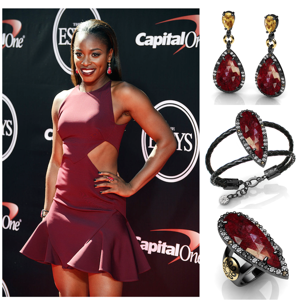 Professional tennis player, Sloane Stephens (ranked #18 in the world), looked fab in a mini-cut out dress and Bohemme Jewelry at the ESPY's.