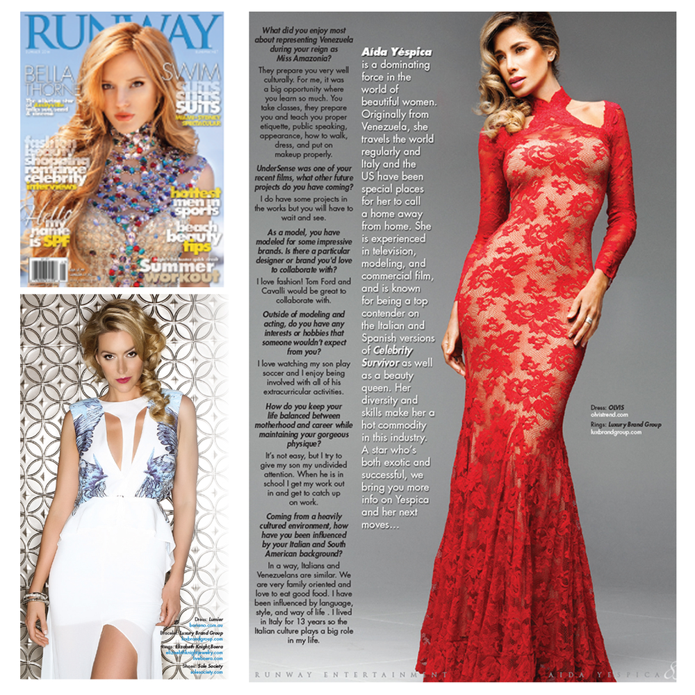 Aida Yespica and Allison Mcatee look glamorous in the latest issue of Runway Magazine. Jewels provided by LBG.