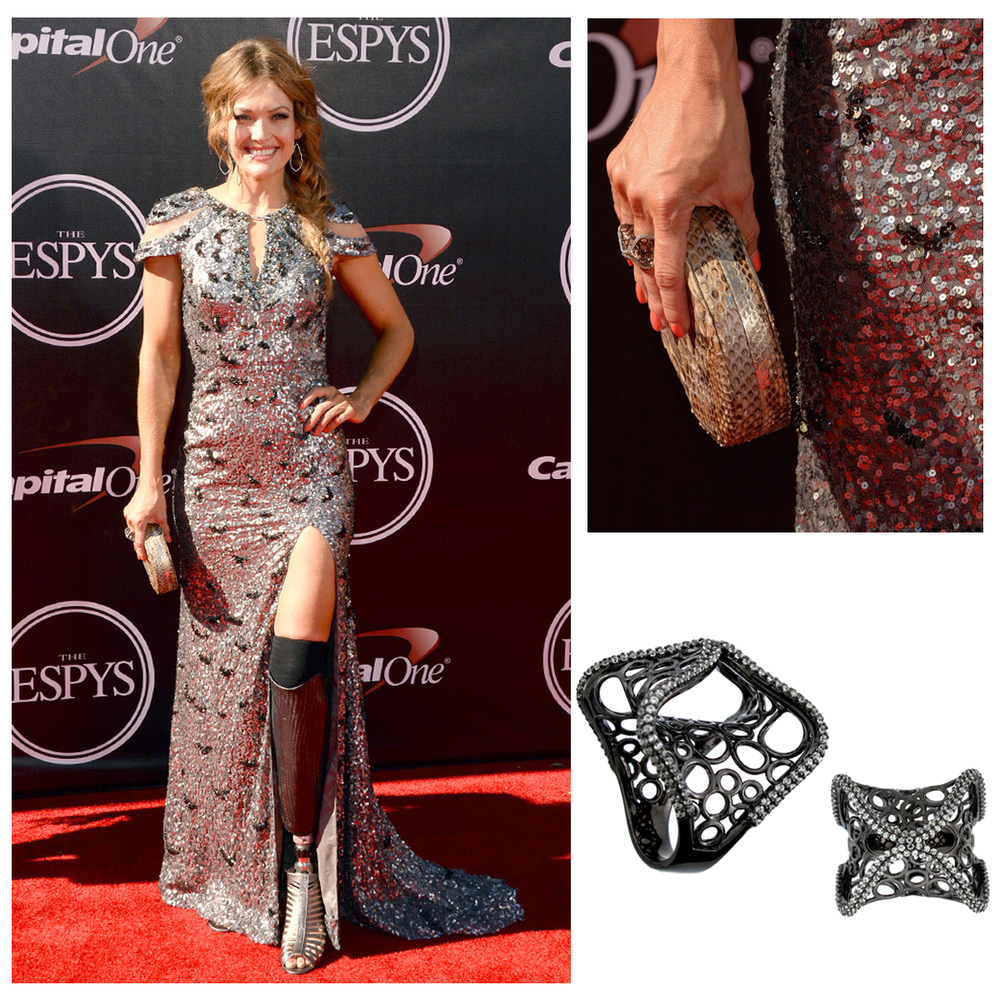 The inspirational, US Paralympic Team Snowboarder, Amy Purdy, stunned in a Metallic dress and Supreme Jewelry on the ESPY's red carpet!