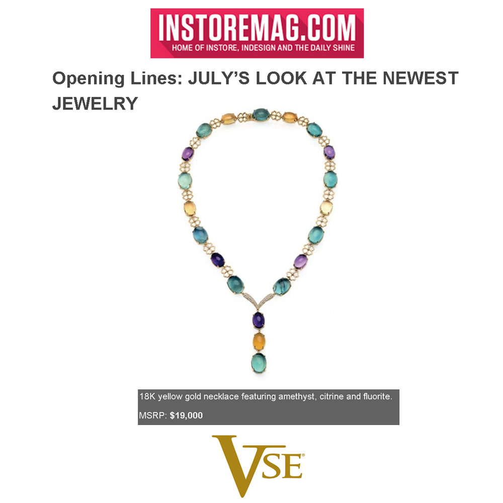 This 18K Yellow Gold V. Tse necklace featured on INSTORE Magazine online is the perfect gem for summer.