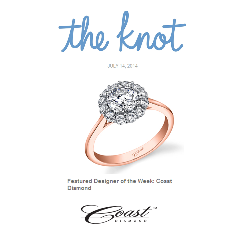 "Congrats to Coast Diamond! The Knot features them as the ""Designer of the Week"" in this week's newsletter!"