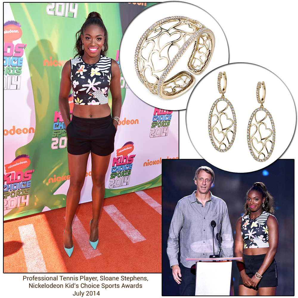 Professional tennis player, Sloane Stephens, rocked the orange carpet at the Kid's Choice Sports Awards in Sylvie Collection jewels!