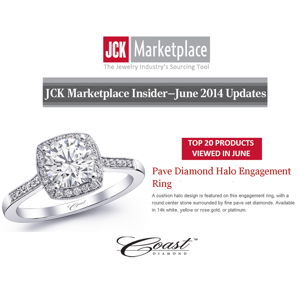 "Check out Coast Diamond's Pave Diamond Halo Engagement ring featured as one of the ""Top 20"" products viewed in June on JCK Marketplace!"