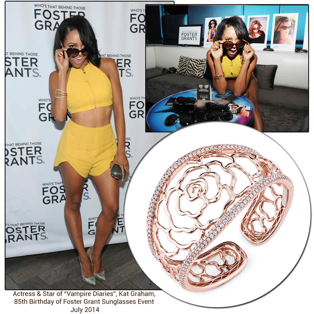 "Actress & star of ""Vampire Diaries"", Kat Graham, looked fab at the 85th birthday of Foster Grant sunglasses event in Sylvie Collection's Rose Gold floral bangle!"