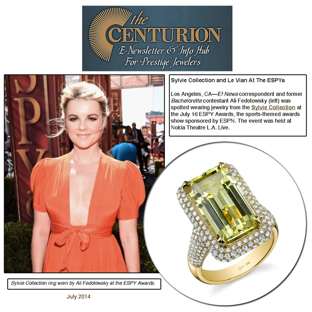 Thank you to Centurion for featuring Ali Fedotowsky wearing Sylvie Collection at the Espy's!