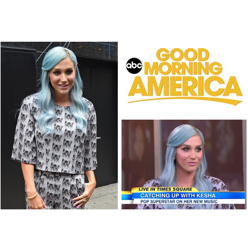 "Pop star, Kesha, rocked her blue hair and beautiful jewels provided by LBG at her appearance for ""Good Morning America""!"