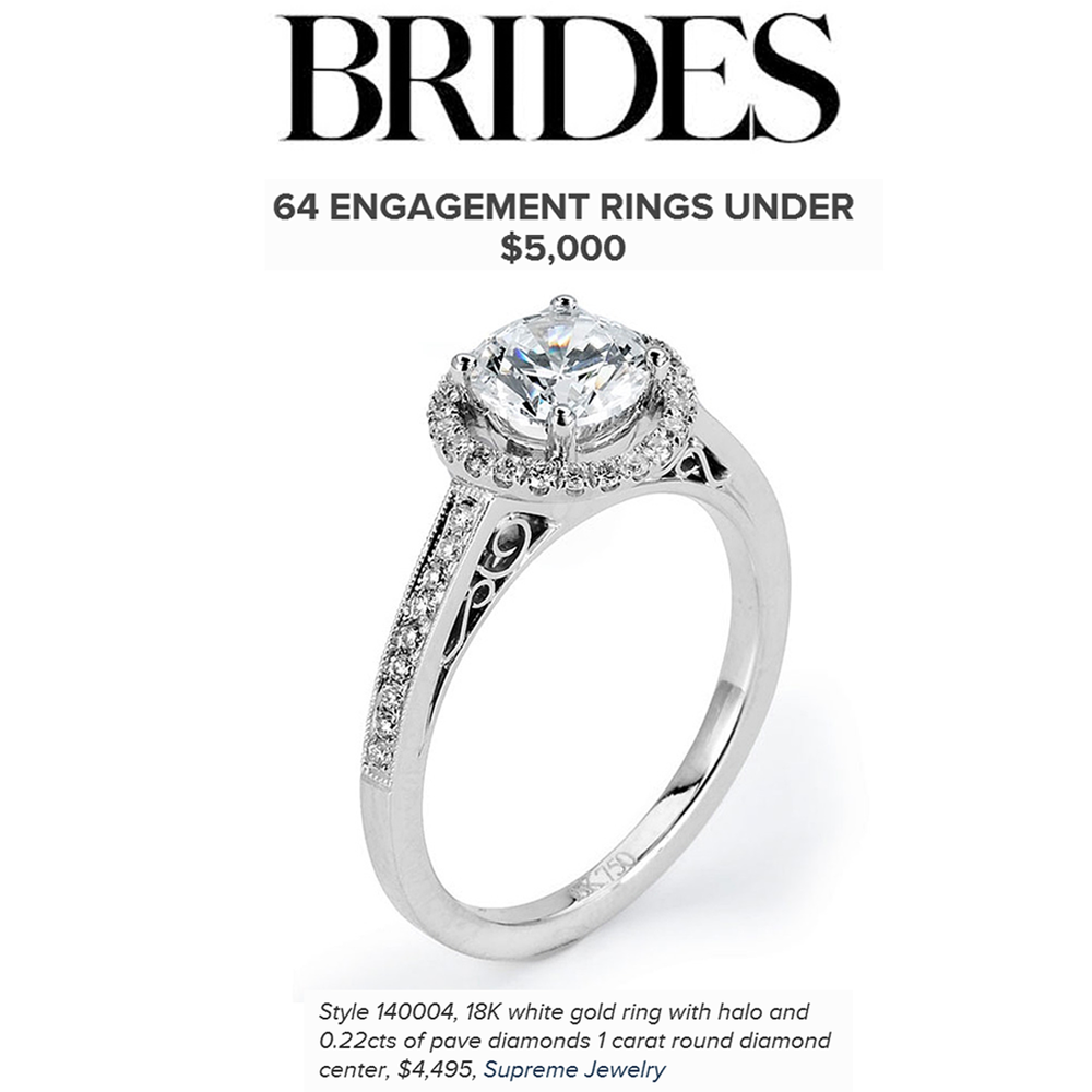 Are you looking for an affordable engagement ring? Check out this beautiful 18K White Gold Halo ring by Supreme Jewelry featured on Brides.com!