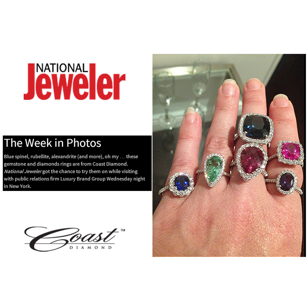 "National Jeweler featured Coast Diamond's colored stone engagement rings in their recap of ""This Week in Photos"" article. Which ring is your favorite?"