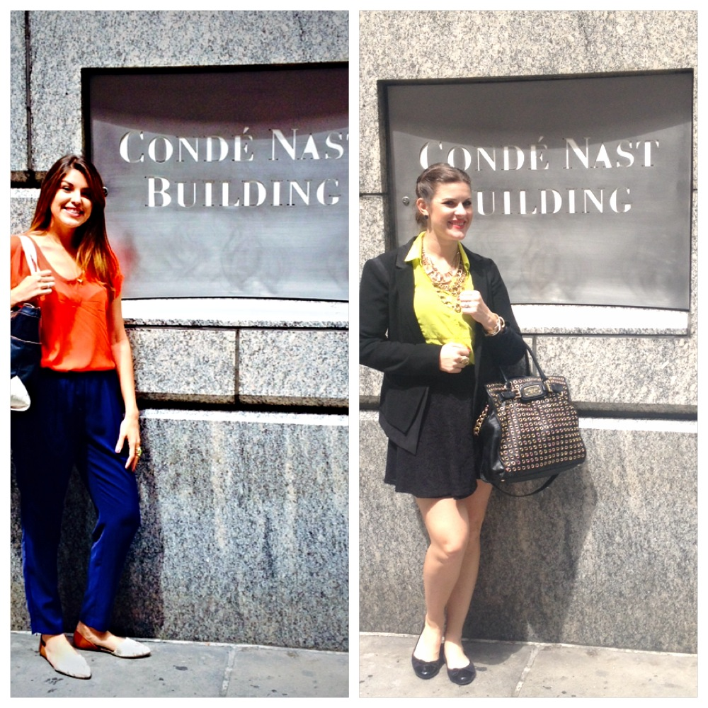 Outside the Conde Nast building waiting to meet with some of the top editors.