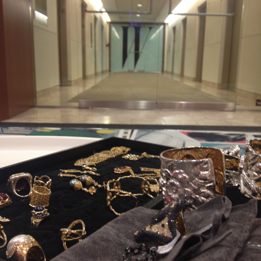 Showcasing fine jewelry at the W Magazine offices.