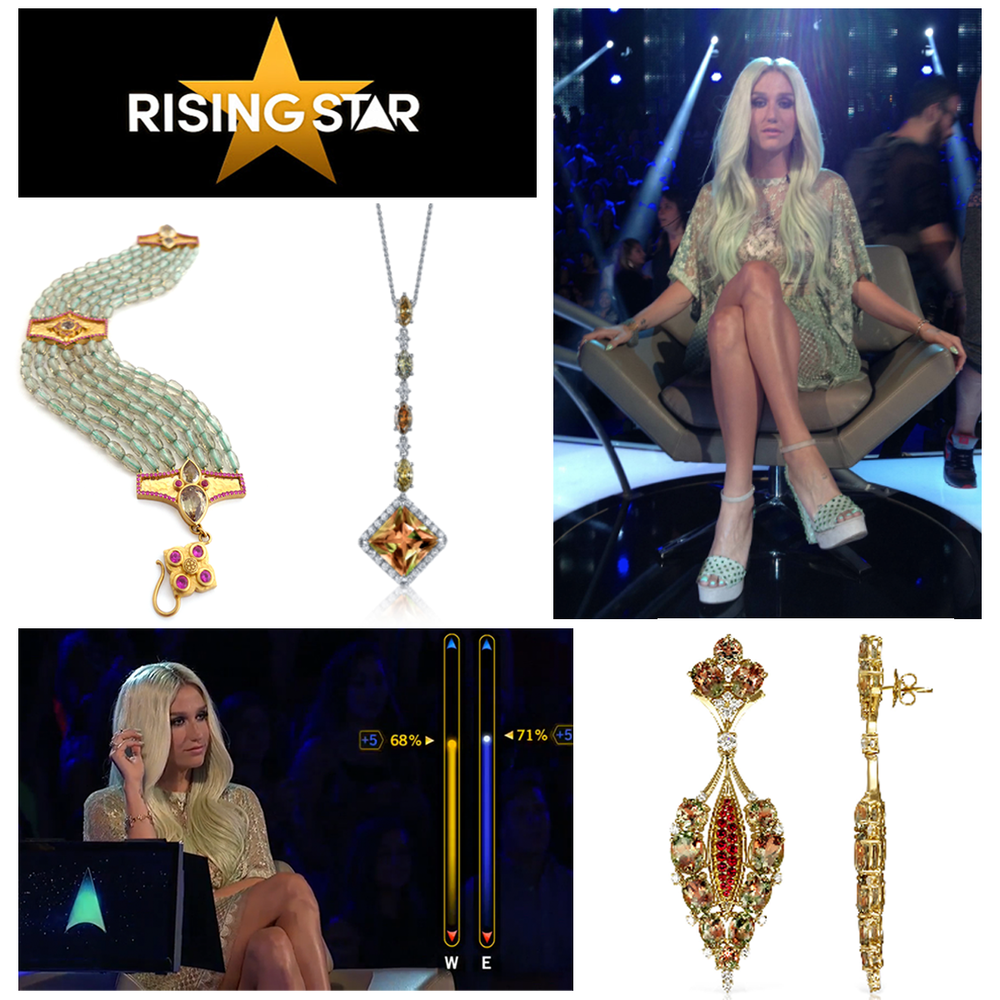 "International pop singer and judge on ""Rising Star"", Kesha, looked drop-dead gorgeous in Daniel Gibbings, Lance Fischer and John Buechner Zultanite® jewels, as well as a Sylvie Collection Yellow Gold ring (below) this week during an episode of the hit ABC show, ""Rising Star""."