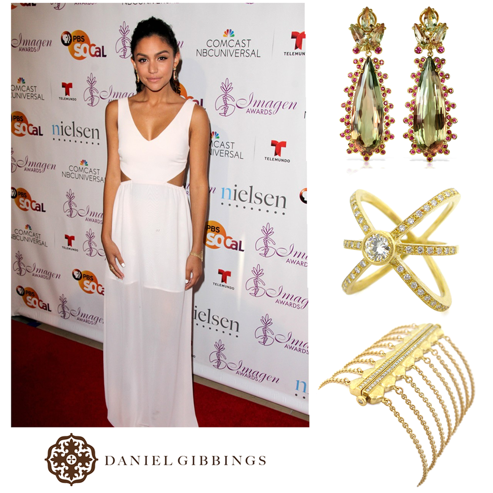 Actress, Bianca Santos, looked amazing in Daniel Gibbings bracelet, ring and Zultanite® earrings on the red carpet at the Imagen Awards.