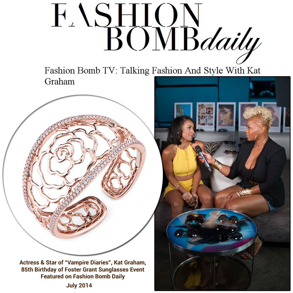 Kat Graham recently wore a Sylvie Collection cuff at the 85th Birthday Foster Grant Sunglasses Event, and her interview was featured on Fashion Bomb Daily.