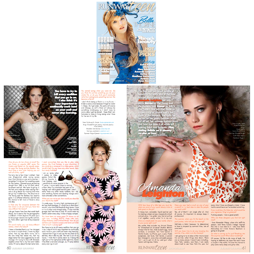 Actress, Amanda Leighton, shined the pages of Runway Teen Magazine wearing gorgeous jewels provided by LBG and styled by Ali Levine.