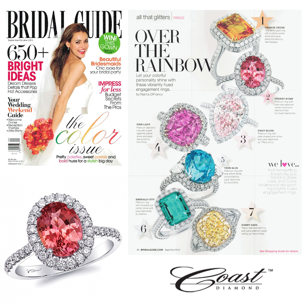 Looking for the perfect colored stone engagement ring? Check out this beautiful Coast Diamond cherry-hued Platinum ring gracing the pages of the September/October issue of Bridal Guide!