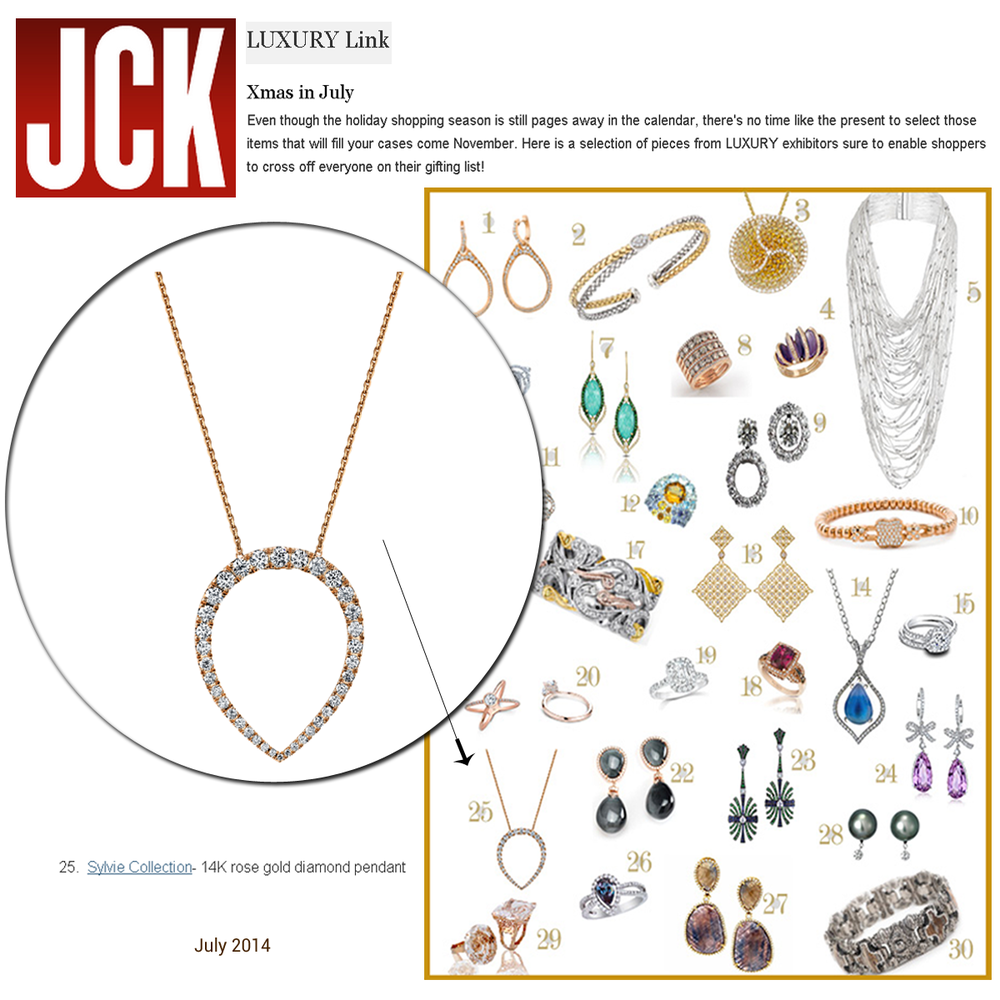 Sylvie Collection's pendant featured on JCK's LUXURY Link.