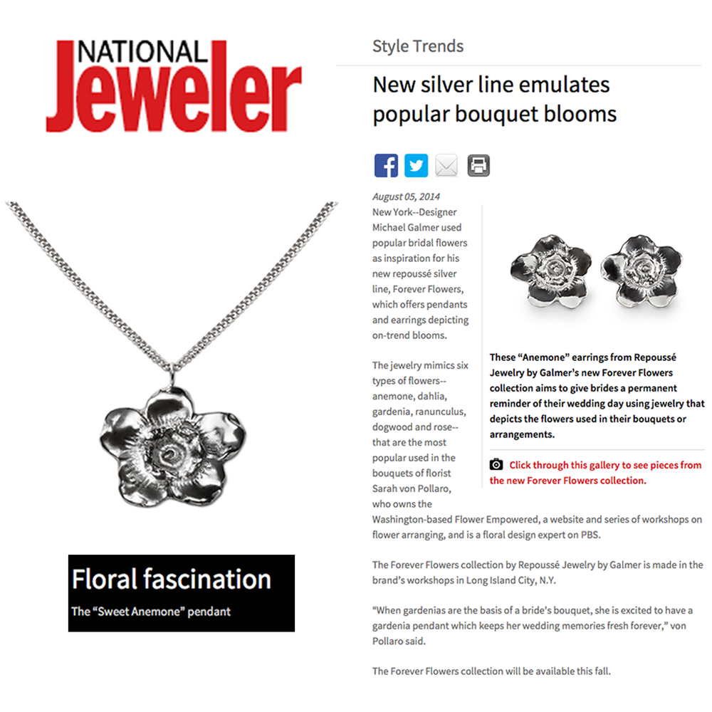 "Thanks to both National Jeweler and JCK for featuring the debut of Repousse Jewelry's new ""Forever Flowers"" Collection!"