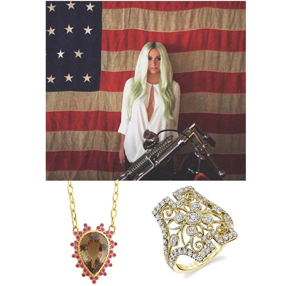 Pop star, Kesha, also wore Daniel Gibbings Zultanite® pendant and a Sylvie Collection ring during a recent photo shoot.