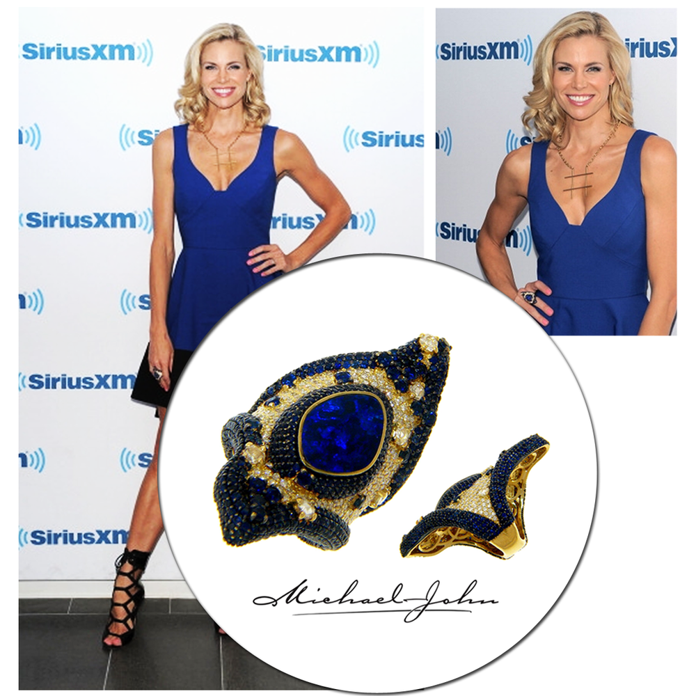 Beauty in blue! Actress, model, host and TV personality, Brooke Burns, stunned in Michael John Jewelry's ring from their new Portofino Collection!