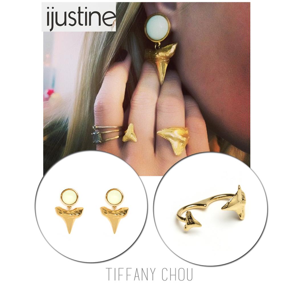Internet celebrity, Justine Ezarik, sported Tiffany Chou's shark tooth jewels in celebration of Shark Week,
