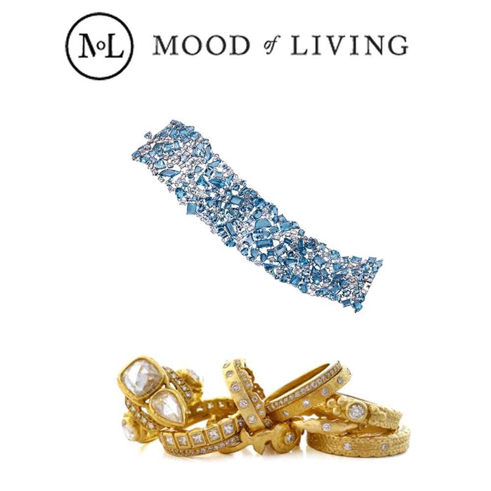 """Thanks Mood of Living for featuring Michael John Jewelry's Aquamarine bracelet and Daniel Gibbings'rings in their """"Light Blue"""" and """"Simple"""" slideshow."""