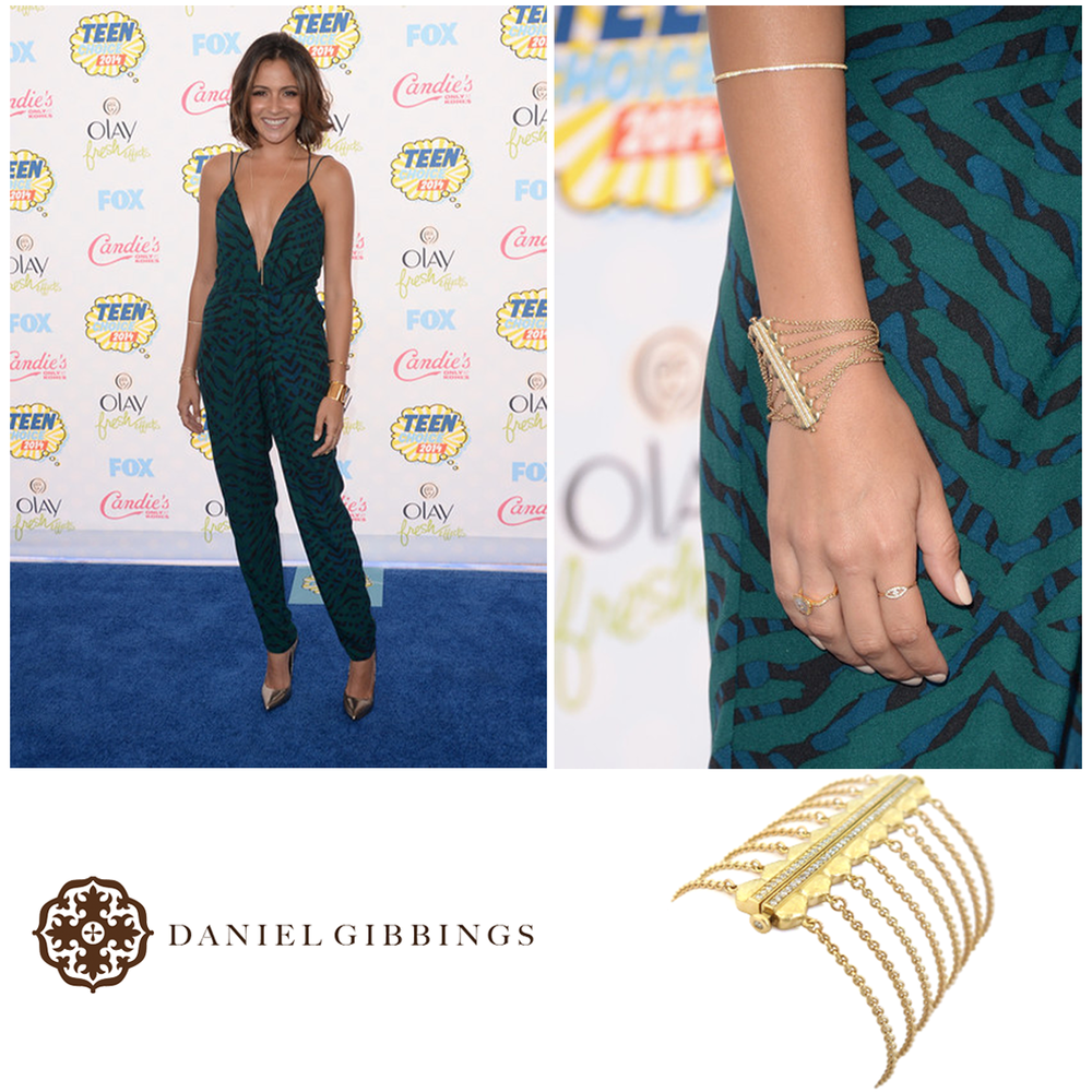 The beautiful, Italia Ricci, looked gorgeous on the blue carpet at the Teen Choice Awards, and rocked Daniel Gibbings bracelet!