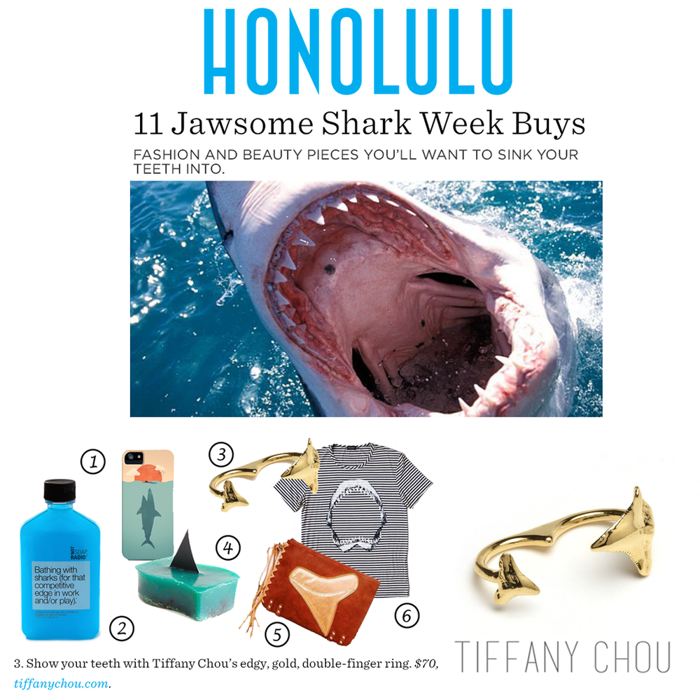 In celebration of Shark Week, dig your teeth into Tiffany Chou'sdouble-finger, shark tooth ring!