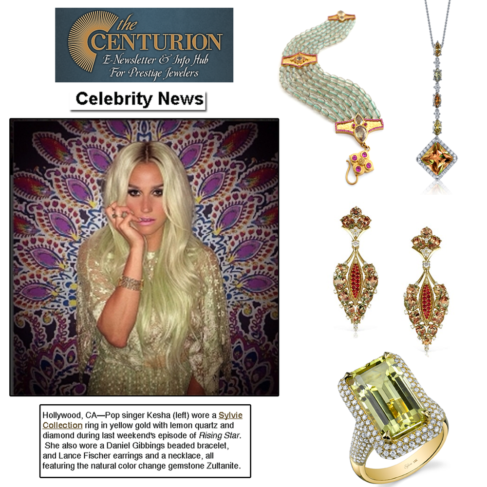 """Thanks Centurion for featuring Sylvie Collection, Lance Fischer, Daniel Gibbings and Zultanite® in the """"Celeb News"""" section of the newsletter."""