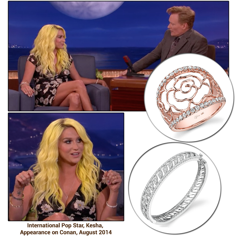 "Pop star, Kesha, glistened in Sylvie Collection jewels during her appearance on ""Conan""!"