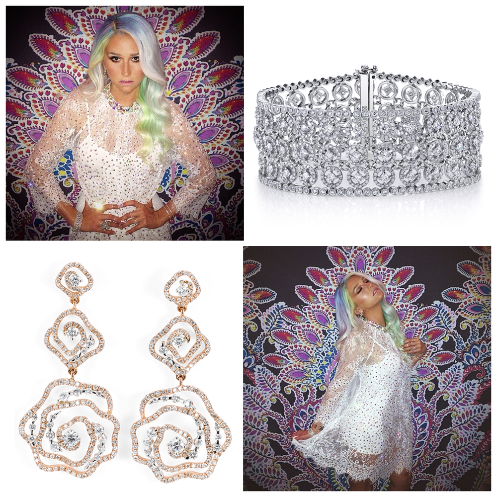"Kesha LOVES Sylvie Collection and Supreme Jewelry! Check out the photo (above) and (below) - Kesha shined on this week's episode of ""Rising Star""!"