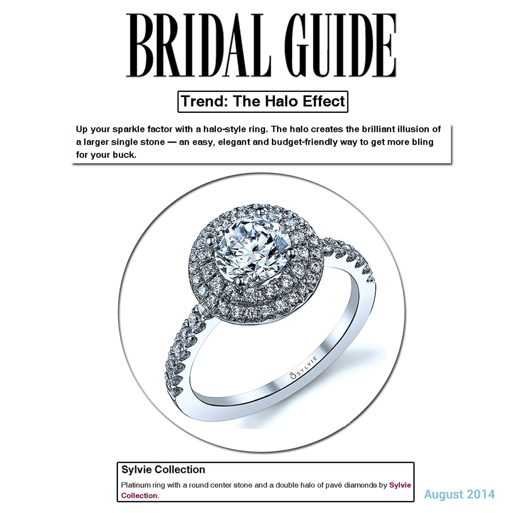 "Wouldn't you LOVE to have this Halo Diamond Sylvie Collection ring on your finger? As featured on Bridal Guide's online story entitled, ""The Halo Effect""!"