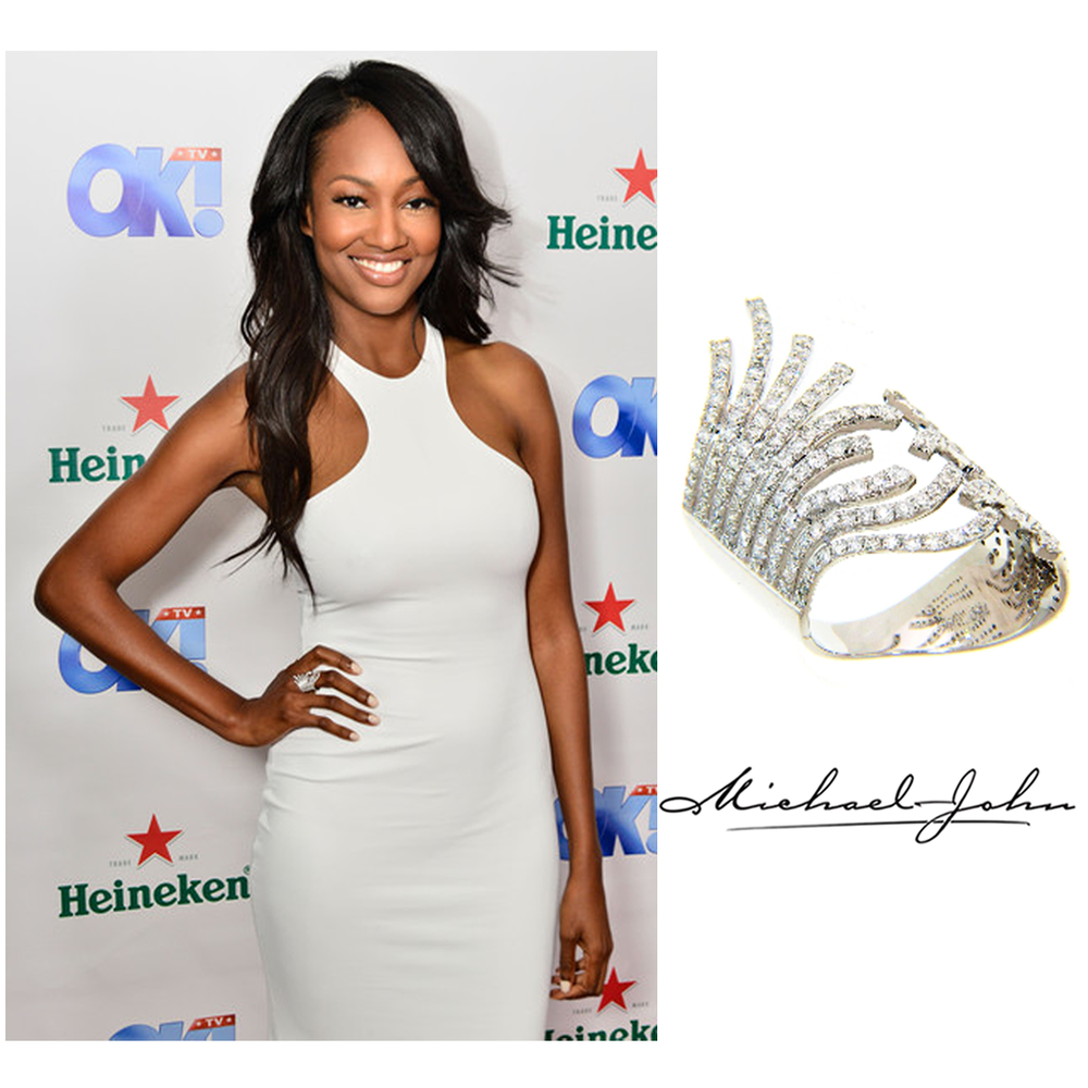 Hello gorgeous! The lovely, Nichole Galicia, was spotted wearing Michael John Jewelry's White Gold Diamond ring to OK! Magazine's TV Awards party!