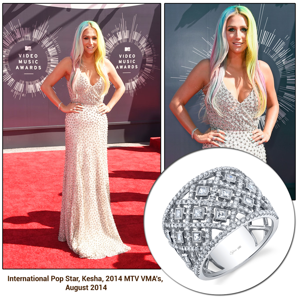 Pop star, Kesha, sparkled in a sequined gown and Sylvie Collection ring at the MTV VMA's!