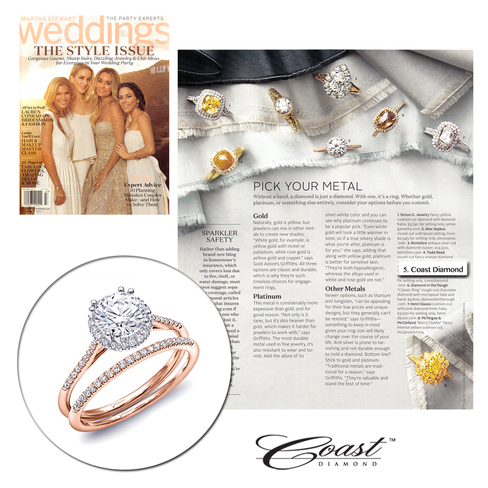 What is your favorite engagement ring metal?! We LOVE Rose Gold! Check out this Coast Diamond ring featured in the Fall 2014 issue of Martha Stewart Weddings.