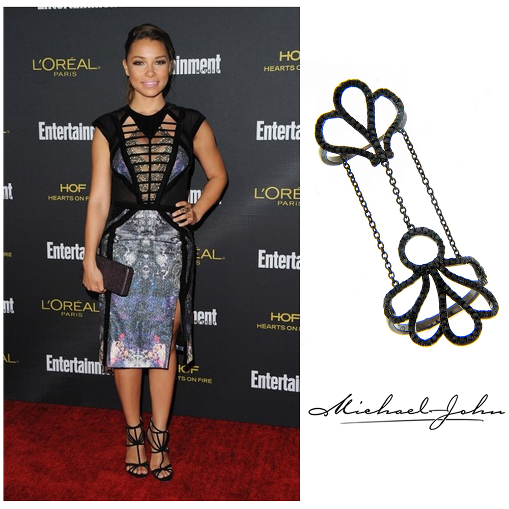 Spotted: Actress, Jessica Parker Kennedy, wore Michael John Jewelry's Black Rhodium double-finger ring at Entertainment Weekly's Pre-Emmy party.