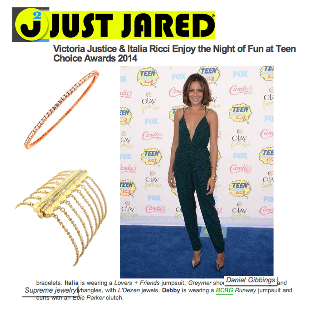 Just Jared features Italia Ricci wearing Daniel Gibbings and Supreme Jewelry at the Teen Choice Awards!