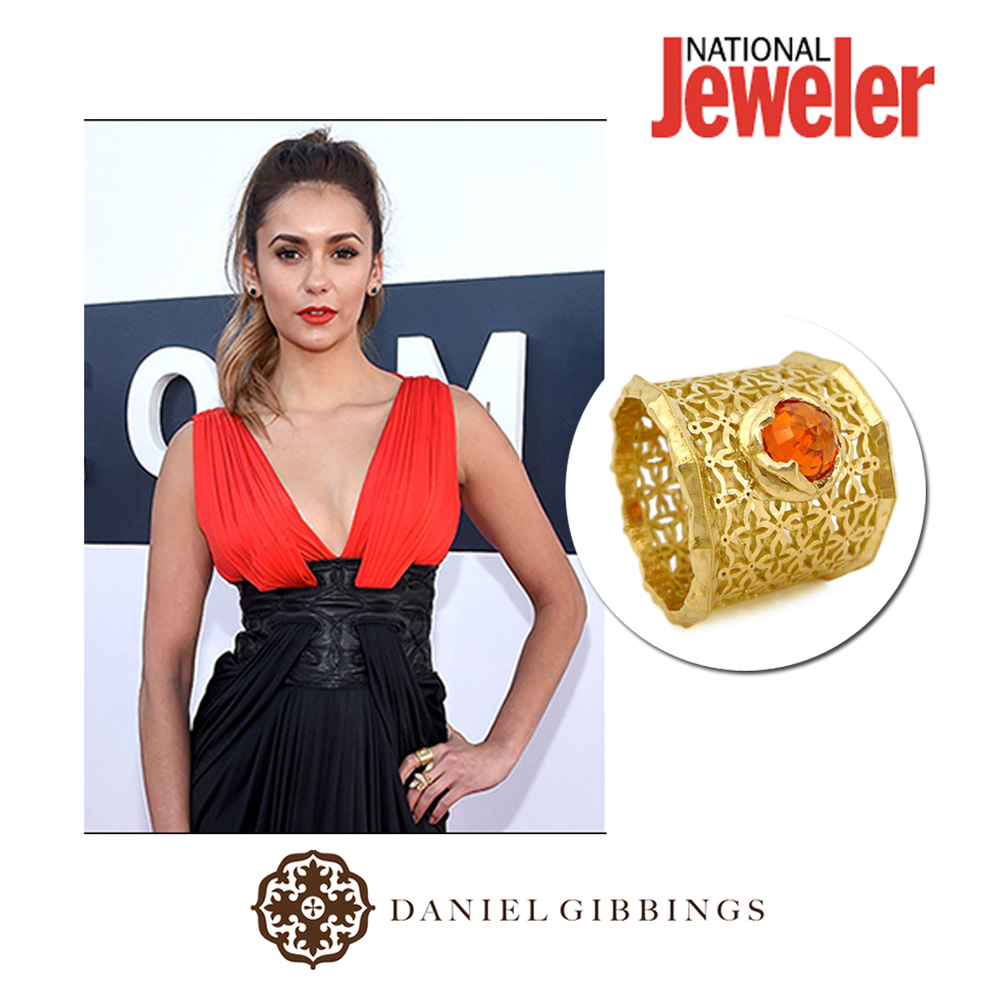 Thanks National Jeweler for featuring Actress, Nina Dobrev, in a Daniel Gibbings ring at the MTV VMA's!