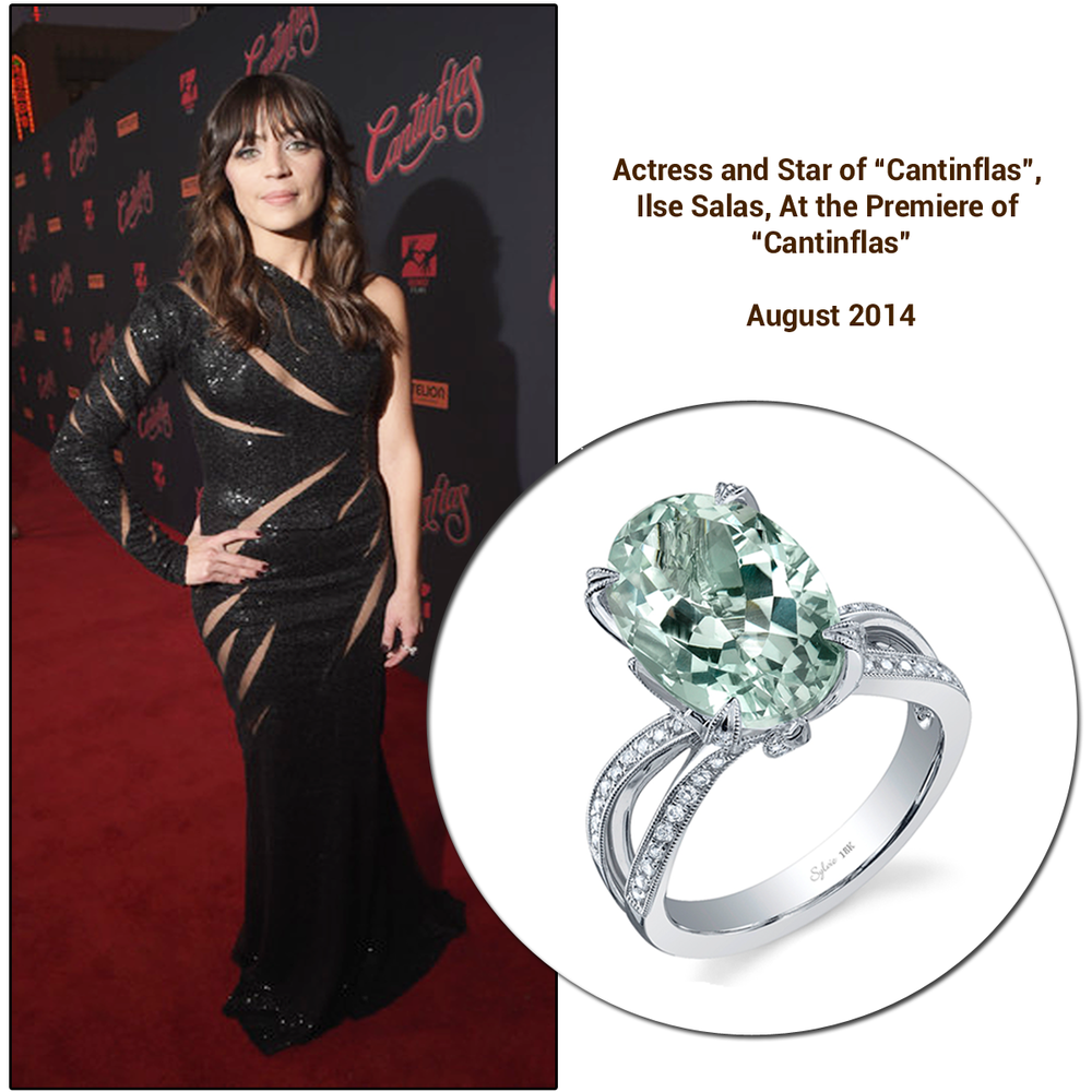 "Actress and star of ""Cantinflas"", Ilse Salas, stunned in a beautiful sequined black gown and wore a Sylvie Collection ring to the premiere of the new movie."