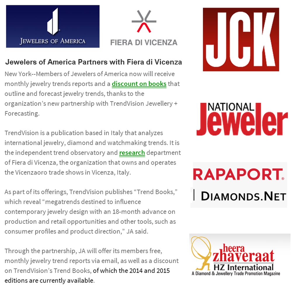 Jewelers of America partners with Fiera di Vicenza! Thanks JCK, National Jeweler, Rapaport and Heera Zhaveraat for featuring the news on this partnership!