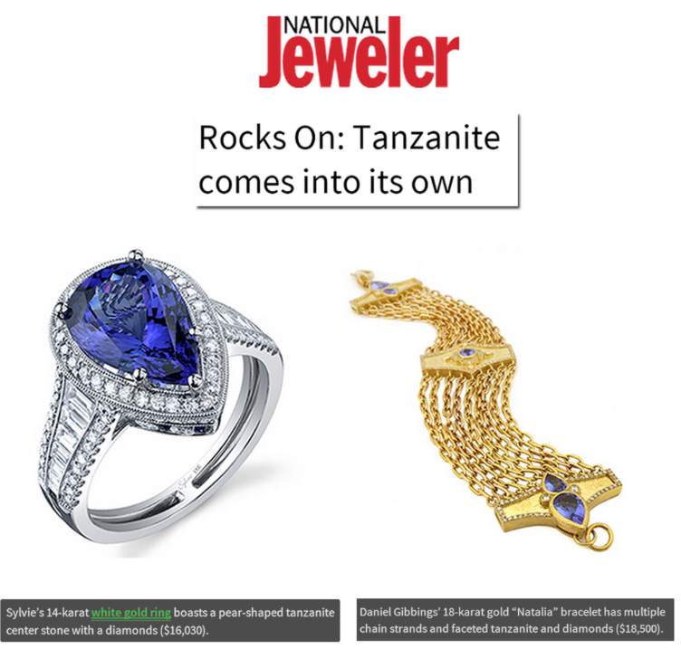 Must-have jewels: This Sylvie Collection Tanzanite ring and Daniel Gibbings Tanzanite bracelet featured on National Jeweler!