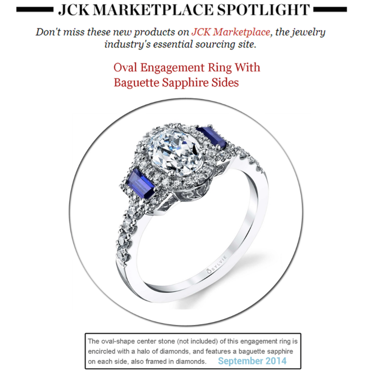 This Sylvie Collection oval Sapphire engagement ring is absolutely stunning! Thanks JCK for featuring in the newsletter spotlight!