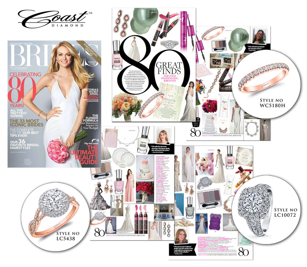In celebration of Brides 80th Anniversary, Coast Diamond is giving away a beautiful, 14K Rose Gold and Diamond band as part of their 80 Great Finds Sweepstakes. Be sure to pick up the Brides Oct/Nov issue on stands September 9, and check out three of their engagement rings, including the ring they're giving away to one lucky winner, in their 80 Great Finds Promotion spread! Enter the sweepstakes here! The deadline is October 27. Good luck!