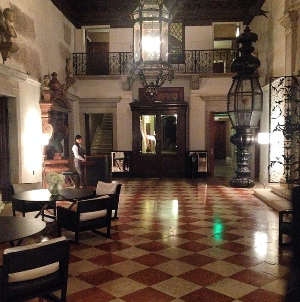 The press event entrance at the opulent and historic Aman Resort in Venezia!